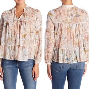 Lucky Brand Floral Tiered Peasant Top Sz L